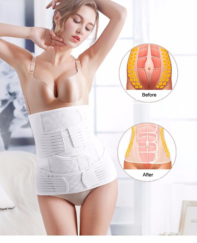 3 in 1 postpartum support girdle wrapping of belly waist trainer cincher stomach shapewear