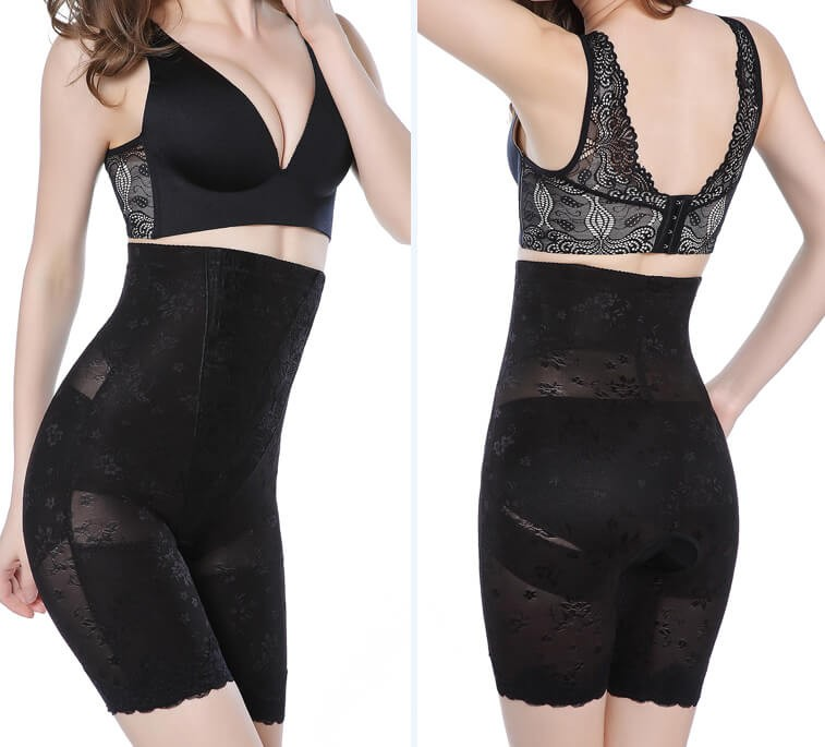 Body Wrap High Waist shapewear Plus size Underbust Long-Leg Bodysuit With Mesh Lace