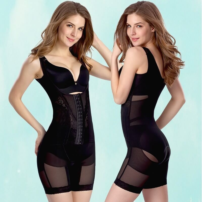 Slimmer Braless Bodysuit with Thigh Shaper Full Body Girdle For Post Caesarean Section Treatment
