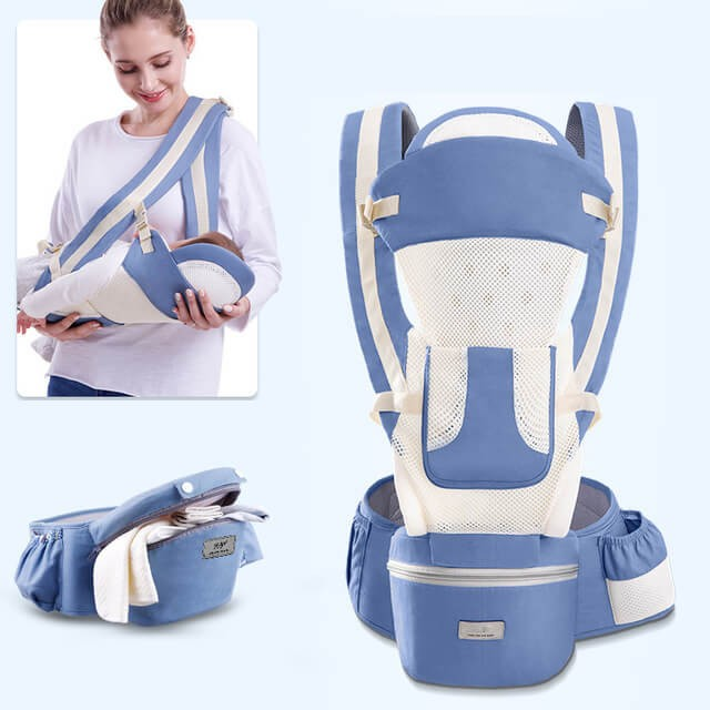 15 In 1 Ergonomic Baby Carrier Backpack - Breathable Baby Wrap Carrier with Hip Seat