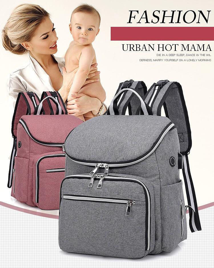 Diaper Bag Backpack - Baby Nappy Storage Travel Bag - USB Charging Port / Waterproof / Large Capacity