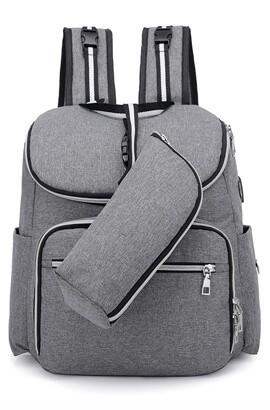 Sac à dos pour sac à couches - Sac de voyage de rangement pour bébé - Port de charge USB / étanche / grande capacité