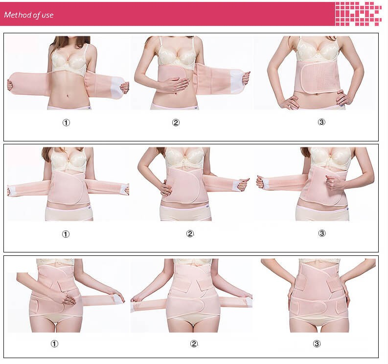 3 i 1 andningsband efter leverans magebälte belly binder efter förlossning för mage och höfter