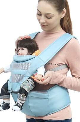 Ergonomisk bärsele nyfödd - baby Mjukt andningsbart nät Bekvämt Bärvåg - Fram- och bakbärare med huvudstöd
