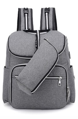 Batoh na plenky - cestovní taška pro dětské plenky - USB nabíjecí port / vodotěsný / velká kapacita